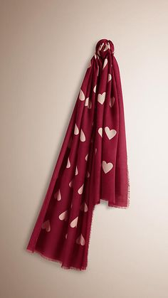 Burberry Lightweight Cashmere Scarf in heart print is made at a Scottish  mill established in 1866 48c0b5d95fb
