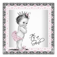 Pink and Gray Vintage Baby Girl Shower Personalized Invitation