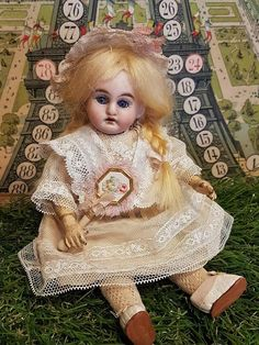 "~~~ 19th. Century 7"" Darling Bisque Doll in Box Presentation for from whendreamscometrue on Ruby Lane"