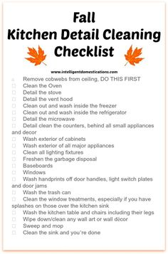 Kitchen Detail Cleaning Checklist & 12 Things in the Kitchen You Can Put in the - Instandhaltung des Wohnraums Fall Cleaning Checklist, Household Cleaning Tips, Deep Cleaning Tips, Oven Cleaning, Toilet Cleaning, House Cleaning Tips, Spring Cleaning, Cleaning Hacks, Kitchen Cleaning
