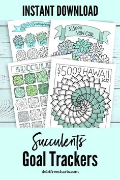 Track all your goals with these simply gorgeous succulent charts! Great for Morning routines, habit trackers, savings goals, debt payoff tracking, and more! What will you use them for? Instant download printable. Printable Planner, Printables, Goal Tracking, Debt Tracker, Free Charts, Habit Trackers, Budget Binder, Morning Routines, Goal Planning