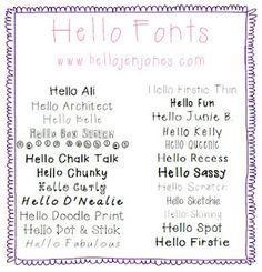Hello Literacy: Free Fonts {Hello Fonts} - One Bundle Download {LOVE these - my new favorite fonts}
