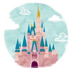 Walt Disney World Castle Illustration Disney Parks, Logo Disney, Walt Disney World, Disney Pixar, Orlando Disney, Tattoo Disney, Disney Cruise, Disney Mickey, Disney Magic