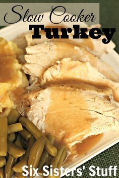 Slow Cooker Turkey Breast Recipe from SixSistersStuff.com. Thanksgiving dinner is a breeze with help from your slow cooker! #thanksgiving