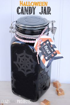 DIY Halloween Candy Jar by Crazy Little Projects #Halloween