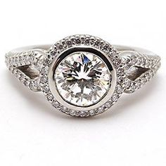 RITANI HALO STYLE BEZEL SET 1 CARAT DIAMOND ENGAGEMENT RING SOLID PLATINUM