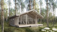 Sirius is a modern log cabin featuring a front elevation made entirely of glass. Small Prefab Cabins, Modern Log Cabins, Prefab Homes, Tiny House Cabin, Log Cabin Homes, Cottage Plan, Cottage Homes, Modern Wooden House, Small Wooden House