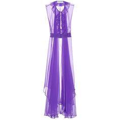 Balenciaga Silk-Organza Dress ($1,560) ❤ liked on Polyvore featuring dresses, purple, purple dress, purple cocktail dresses, balenciaga dress, silk organza dress and balenciaga