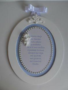 Quadro Oração Santo Anjo G Azul Xadrez
