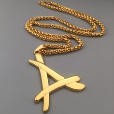 """2016 Newest Superstar Alumni Necklace A Letter Pendants Jewelry 24k Real Gold Plated 30"""" Thin Chain Men Colgantes Hip Hop Hombre"""