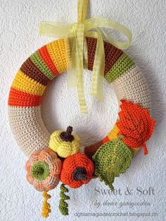 La Magia del Crochet: CORONA DE OTOÑO AL CROCHET ~instructions are written in Spanish~