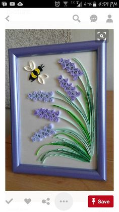 Original Quilling Wall Art handmade in the Provence style. Delicate lavender flowers and bee. This beautiful design can grace any room, lovely gift for any occasion, anniversary, or birthday! The picture is framed into the frame. The size of the picture w 3d Quilling, Quilling Flowers Tutorial, Paper Quilling Flowers, Paper Quilling Cards, Paper Quilling Jewelry, Origami And Quilling, Paper Quilling Patterns, Quilled Paper Art, Diy Quilling Crafts