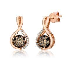 Le Vian 0.36 Carat Chocolate and Vanilla Diamond Cluster Drop Earrings · YQEN 23 · Ben Garelick Jewelers
