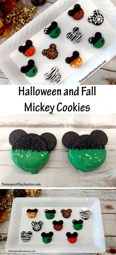 Halloween and Fall Mickey Cookies - The Keeper of the Cheerios recipes halloween party Halloween Desserts, Disney Halloween Parties, Halloween Oreos, Mickey Halloween Party, Halloween Treats For Kids, Halloween Party Supplies, Halloween Goodies, Halloween Birthday, Halloween Gifts