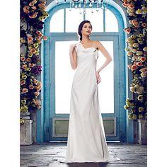 Sheath/Column One Shoulder Sweep/Brush Train Chiffon Wedding Dress (631153) – USD $ 129.99