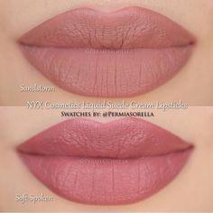 NYX Cosmetics Liquid Suede Cream Lipsticks in Sandstorm & Soft-Spoken - Makeup-trends. Makeup Swatches, Makeup Dupes, Skin Makeup, Makeup Lipstick, Lipstick Shades, Nyx Dupes, Drugstore Lipstick, Blue Lipstick, Nyx Matte Lipsticks