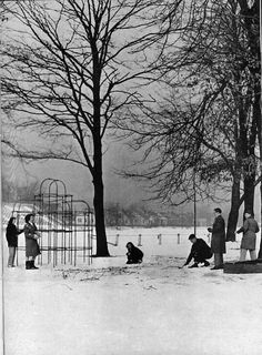 §§§ : Grandview High School students have a snowball fight in the playground area at the south end of the football field. : 1960s