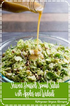 This vegan Shaved Brussels Sprout Salad with Apples and Walnuts is packed full of healthy, in-season flavor—perfect for the cool weather months! Crab Recipes, Pizza Recipes, Low Carb Recipes, Brussels Sprout, Brussel Sprout Salad, Quick Easy Meals, Healthy Dinner Recipes, Vegetarian Recipes, Crab Food