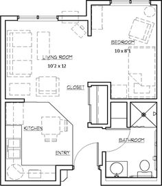 Studio apartments floor plan 300 square feet location for Small house plans for seniors