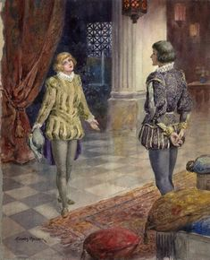 H. Thomas Maybank. Twelfth Night, Act 1, Scene 4. Watercolor, late 19th century or early 20th century. Folger Shakespeare Library.