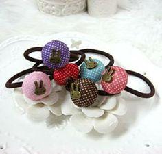 Polka Dot Rabbit-Accent Hair Tie
