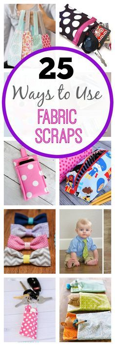 25 Ways to Use Your Fabric Scraps-These cute little scrap fabric projects are easy sewing patterns for beginners and more. It's fun to sew something quick and easy like this! Scrap Fabric Projects, Easy Sewing Projects, Sewing Projects For Beginners, Fabric Scraps, Sewing Hacks, Sewing Tutorials, Sewing Crafts, Sewing Tips, Sewing Ideas