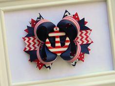 Girls Nautical Boutique Hair Bow - Ships Ahoy Hair Bow