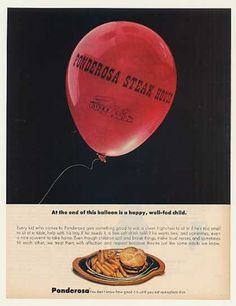 Note the portion size at the bottom. Ponderosa Steak House Restaurant Balloon (1972)