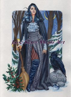 Winter solstice witch with her raven, Behind her the general sun and moon positions of the solstice shines through the winter branches.