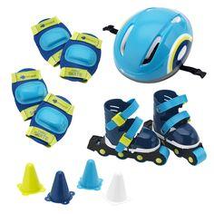 Роликовые коньки и защитное снаряжение, голубые