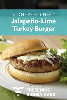 Jalapeño-Lime Turkey Burgers with Smoked Mozzarella are the perfect addition to your dinner menu. Juicy burgers made with lime zest are topped with cheese for a bold-tasting, kidney-friendly recipe. Serve them up at your next gathering! Diet Dinner Recipes, Diet Recipes, Lunch Recipes, Healthy Recipes, Smoked Mozzarella Recipe, Renal Diet, Dialysis Diet, Grilled Turkey Burgers, Kidney Friendly Foods