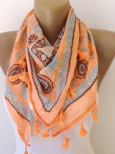 orange scarf  cotton women scarf  scarves fashion by seno on Etsy, $19.00