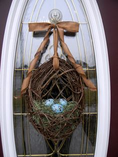 Spring Easter Grapevine Door Wreath Basket by AnExtraordinaryGift, $55.00