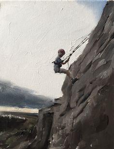 Rock Climbing Painting Climbing Art Climbing PRINT Boy Abseiling Art Print - from original painting by J Coates Canvas Wall Art, Canvas Prints, Art Prints, Abseiling, Pictures To Paint, Climbers, Rock Climbing, Figure Painting, Bald Eagle