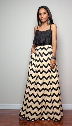 Floor Length Skirt Printed Maxi Skirt Feel Good by Nuichan
