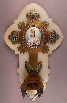 Fine Antique Enamel Bronze Holy Water Font with Miniature of Maria on Porcelain