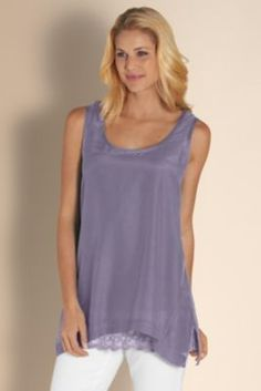 Double Layer Tank - Layering Tank Top, Scoop Neck Tank Top, Soft Cotton Tank | Soft Surroundings