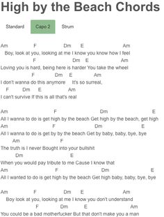 High by the Beach Chords Lana Del Rey