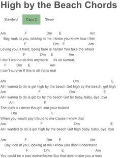 High by the Beach Chords Lana Del Rey