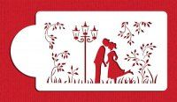 DS9935 - Kissing Couple Silhouette Cake Stencil