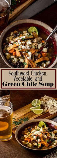 """A healthy """"kicked up"""" chicken, black bean, and vegetable soup with southwest flavors. Hatch Green Chile Chicken Tortilla Soup is chock full of healthy ingredients, and the garnishes make it special! Ready in 30 minutes! Spicy Chicken Soup, Spicy Soup, Chicken Tortilla Soup, Chicken Rice, Healthy Chicken, Chowder Recipes, Easy Soup Recipes, Lunch Recipes, Healthy Recipes"""