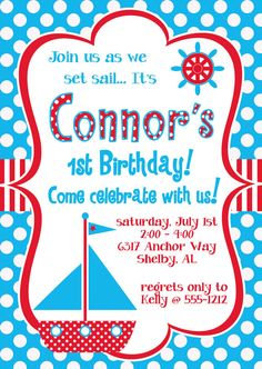 Nautical Theme Sailboat Birthday Party Invitation in Red & Turquoise. $20.00, via Etsy.