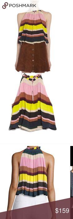 APIECE APART silk top striped NWT Sz 8 Silk striped halter style lined top nwt Retail $398 APIECE APART Tops Blouses