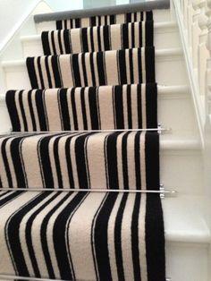 Black and White Stripe Stair Carpet 4