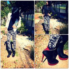Zara White Crop Tweed Jacket, Jay Jays Black Sheer Blouse, Olive  Floral Printed Pants, Utopia Color Block Ankle Boot