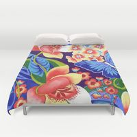 Duvet Covers by Vikki Salmela | Society6 #new #garden #floral #butterflies #watercolor #pretty #bright #original #art for #duvet #covers for #bed #bedroom #home #apartment by #vikkisalmela