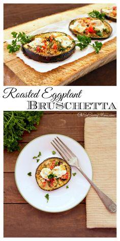 Roasted Eggplant Bruschetta appetizer #Italian #appetizer #dinner #mozzarella #basil #yum #healthyeating #healthyfood