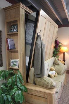 A great tiny house solution for single level bedroom. Murphy Bed and sofa in one. Add an ottoman with storage for a foot rest during the day filled with your pillows for the bed - Montana Murphy Beds