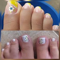 Toe Nail Designs, Nail Polish Designs, Colorful Nails, Flower Nail Art, Manicures, Toe Nails, Summer Nails, Amelia, Nail Ideas