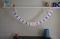 Bridal Shower Banner  Pink & Purple by JKreations2013 on Etsy, $16.00